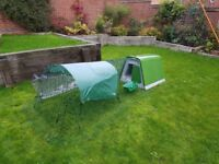 Eglu Go with 2 metre fox proof run with waterproof and shade covers, water trough and feeders.