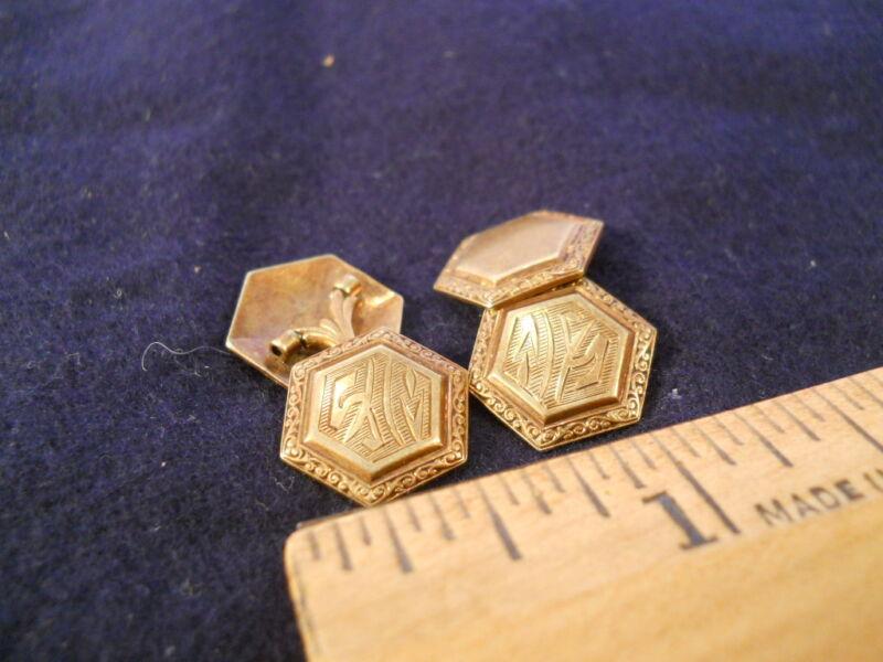 Vintage 14K GOLD CUFFLINKS art nouveau deco CJM Monogram early 1900