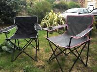 2 folding, solid camping chairs.