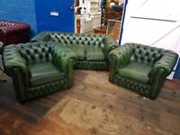 Green Saxon Chesterfield Suite