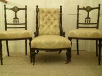 Set of three beautiful 19th Century ebonised Salon chairs