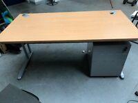 Desk with 3 drawer pedestal with keys
