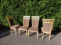 DINING CHAIRS - QUALITY - SOLID CHAIRS BEECH WITH BROWN MATERIAL SEATING AND INLAYS