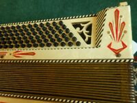 Beautiful vintage Pietro piano accordion. Folk musical keyboard instrument