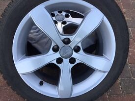 Audi 16in alloys x4 with winter tyres and carry bags
