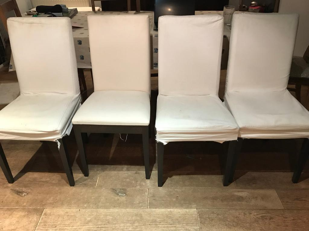 4 White Habitat Dining Room Wooden Chairs With Removable Covers