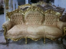 Fantastic new French gold carved salon sets full suites