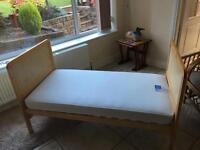 Mothercare pine cot bed with mattress & 2 fitted sheets