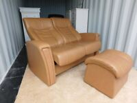 FJORDS,HJELLEGJERDE SCANDINAVIAN LEATHER RECLINING SOFA WITH FOOTSTOOL(DELIVERY)