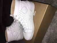 christian louboutins size 9 all white spikes