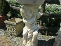 ORNATE LARGE GARDEN STONE BIRD BATH 'KING CHERUB' DISMANTLES INTO 2. DELIVERY POSSIBLE