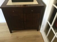 Sterling sideboard walnut in colour with beige tiled top