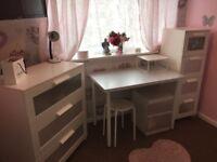 White Bedroom furniture and desk.