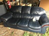 3 piece blue leather suite 3 seater and 2 arm chairs
