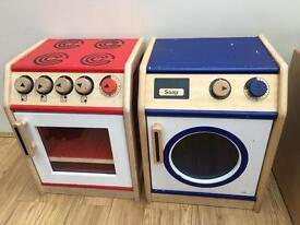 Kids Wooden Washing Machine And Cooker
