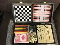 5 in 1 Game Set Checkers Chess Cribbage Backgammon and Dominoes