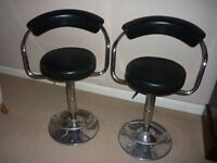 Black and chrome bar stools