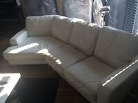 White leather DFS corner sofa