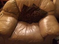 3 seater leather sofa + 2 chairs in cream leather had for 10 years but still some life in it