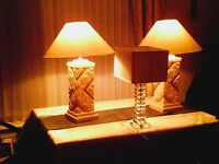 two matching lamps and shades