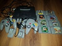 N64 bundle with controllers and games