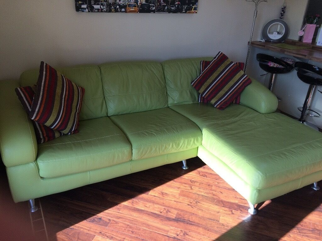 Lime Green Leather Corner Sofa Ex Dfs Good Condition