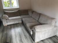 Large corner sofa with swivel chair and foot stool