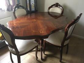 Italian wood dining table and 4 chairs