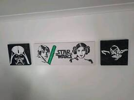 3 Hand Painted Star Wars Canvases
