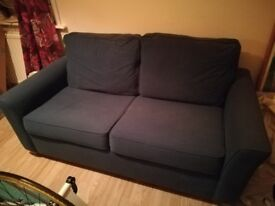 Bed settee/sofa. Blue, very good condition. Sprung support with mattress.