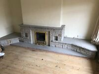 Stone Fireplace - Dismanted ready for collection - two large stone sections + all brickwork
