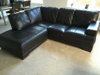 Corner Sofa, GENUINE soft dark brown leather & footstool- in Wimbledon for collection ASAP
