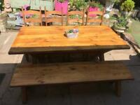 Rustic farmhouse dining table 4 chairs and bench