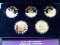 24ct gold plated five coin collection