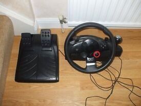 Steering wheel and pedals for Playstation
