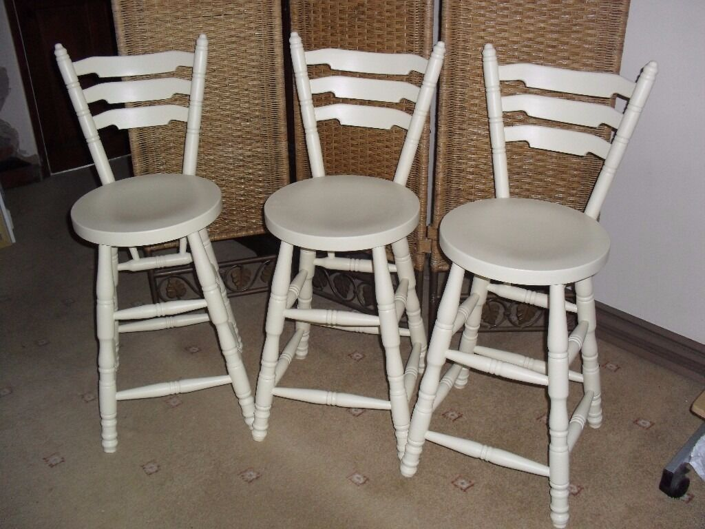 shabby chic solid pine farmhouse country breakfast bar stools chairs in farrow ball cream no. Black Bedroom Furniture Sets. Home Design Ideas
