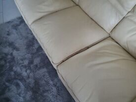 Cream 2 seather and 3 seather leather sofas