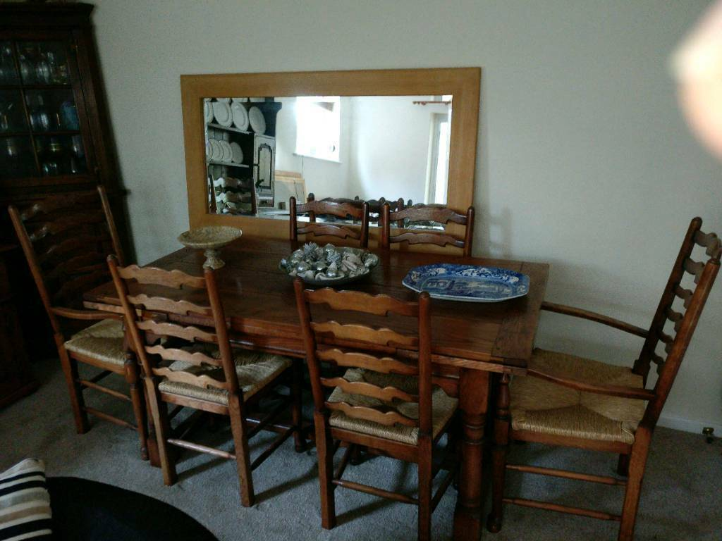 Solid Oak Extending Table And 6 Ladder Back Chairs Multiyork Brand High Quality