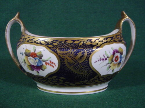 1820 Antique Porcelain Spode Sugar Bowl, Splendid Pattern 1709 19th century