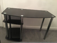 Black Glass and Chrome Office Desk