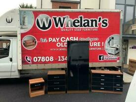 Black gloss and walnut wardrobe £75, long drawers £65, 3 drawer chest £39 side locker £20