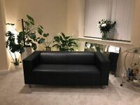 IKEA Klippan Sofa Black Faux Leather (RRP £229)