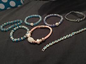 Bundle of bracelets.