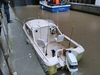 Shetland 536 fishing boat 60 hp vro outboard Johnson