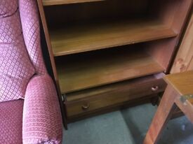 Tall Solid Wood Bookcase with 2 Draws
