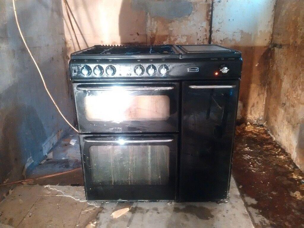Black range-style Stoves Envoy 850 double oven gas