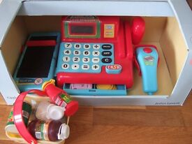 John Lewis cash register for toddler, with basket and coins, sound effects