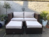 Rattan garden furniture set with cover
