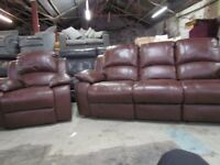 2 Piece 100% Real Leather Luxury Suite Brown Static 3+1 Sofas Brand New