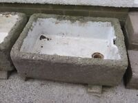 Two old Belfast sinks, one large and other smaller currently covered in hypertufa.